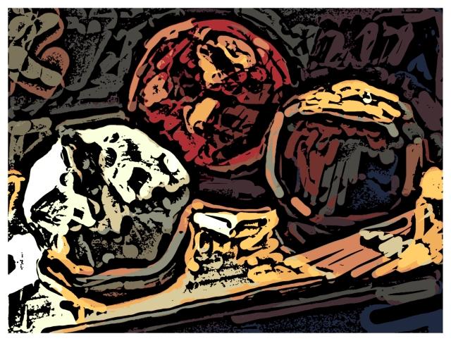 Garlic, Apple, Peach Woodcut 2011