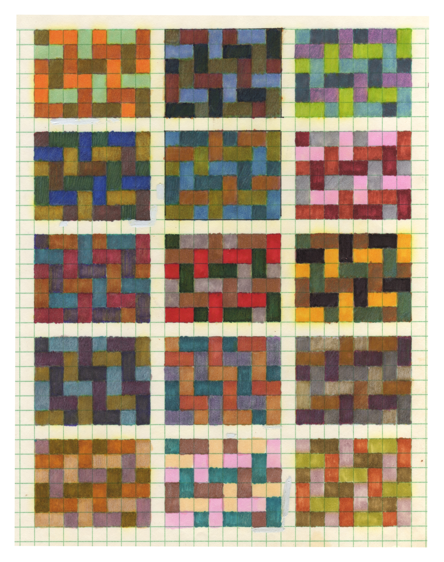 Graphpaper sketches 1989-92 - felt pen / colored pencil
