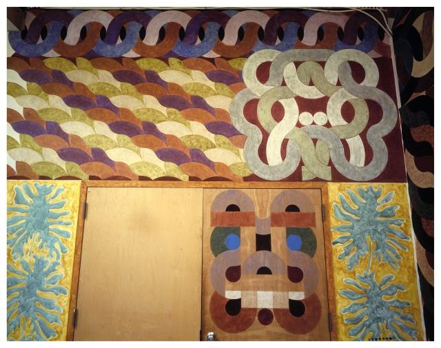 Dragon Frieze & Dog Mask in situ 1991